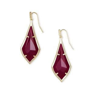KENDRA SCOTT Olivia Drop Earrings Maroon Jade Gold